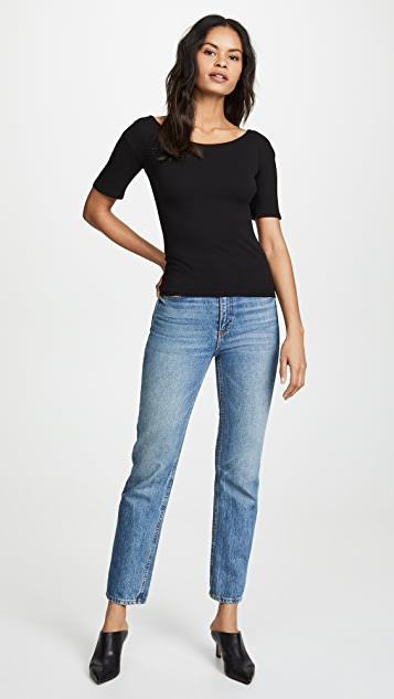 Enza Costa Baby Rib Open Neck Tee