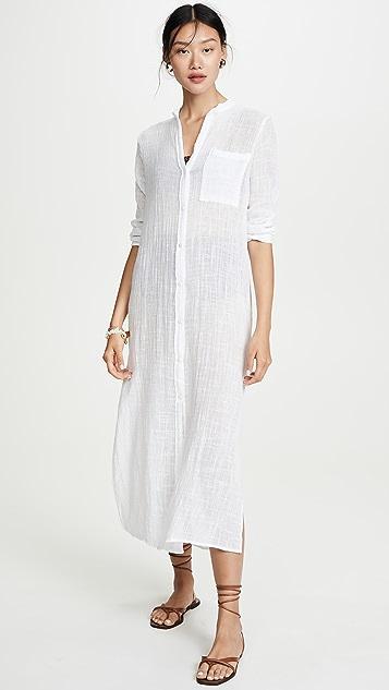 Enza Costa Длинное платье-рубашка с рукавами до запястий