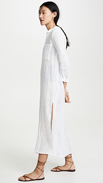 Enza Costa Bracelet Sleeve Maxi Shirtdress