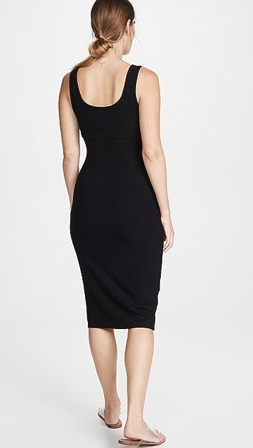 Enza Costa Миди-платье без рукавов в рубчик