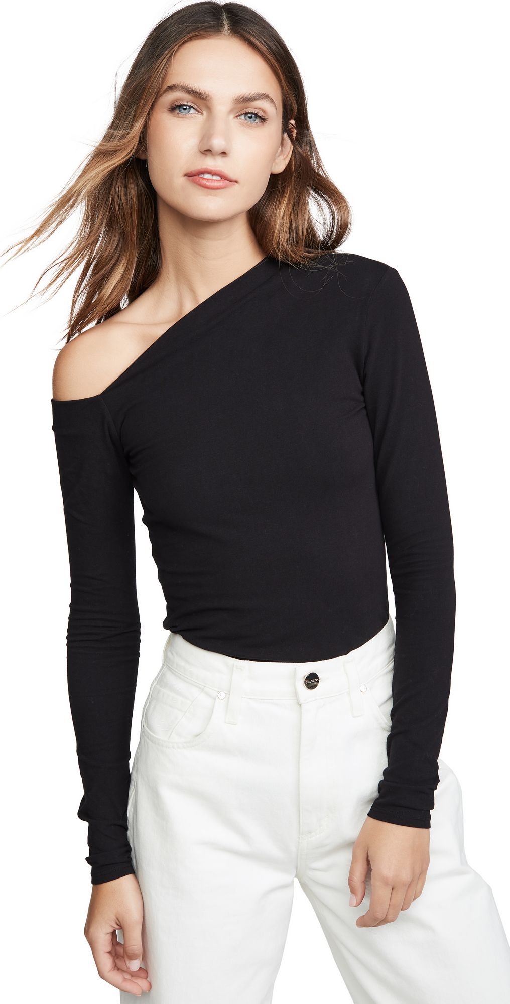 Angled Exposed Shoulder Top