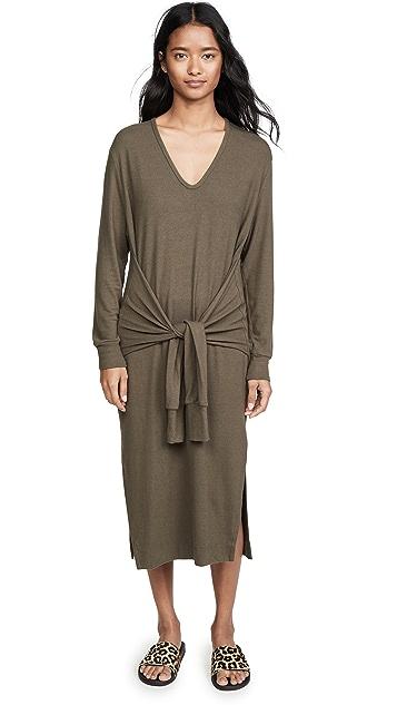 Enza Costa Peached Jersey Waist Tie Dress