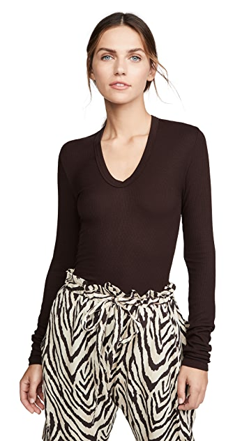 Enza Costa Rib Fitted U Neck Top