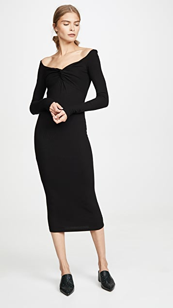 Enza Costa Silk Rib Off Shoulder Twist Midi Dress