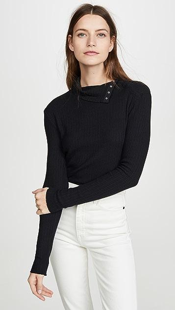 Enza Costa Brushed Rib Split Collar Shirt