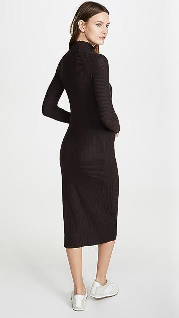 Enza Costa Brushed Rib Raglan Midi Dress