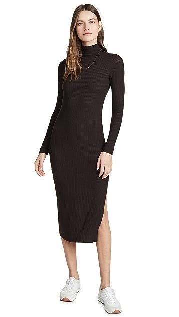 Enza Costa Миди-платье с рукавами реглан из ворсованной ткани в рубчик