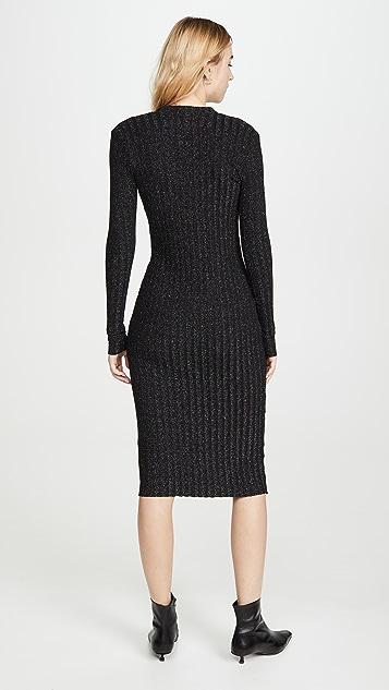 Enza Costa Metallic Rib Cardigan Midi Dress