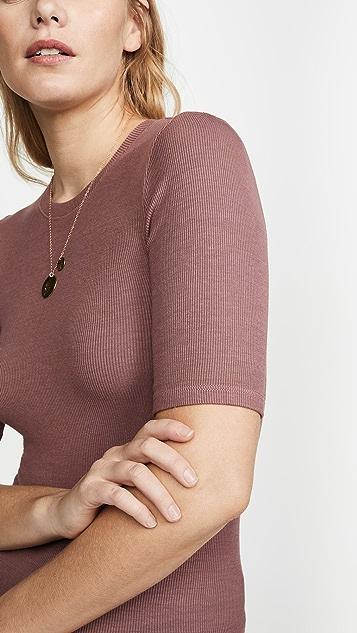 Enza Costa 真丝罗纹合身中袖圆领 T 恤