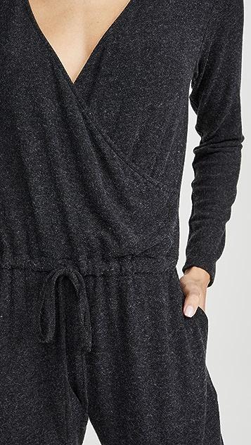 Enza Costa 磨毛平纹针织前裹身连身衣