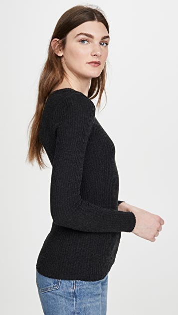 Enza Costa Cashmere Ribbed Crew Top