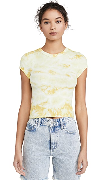 Enza Costa 罗纹短款小肩袖圆领 T 恤
