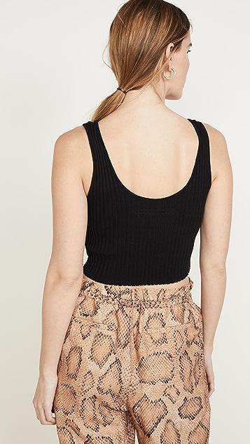 Enza Costa 罗纹毛衣针织短款汤匙领背心