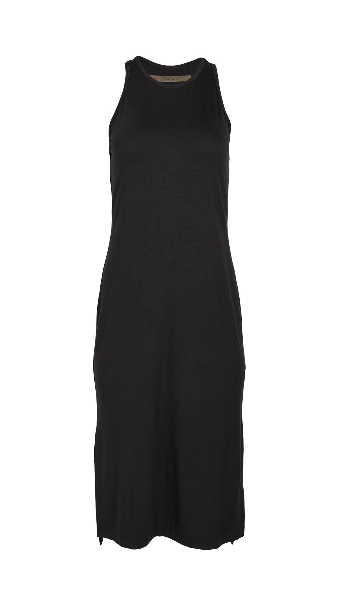 Enza Costa Matte Jersey Side Slit Sheath Dress