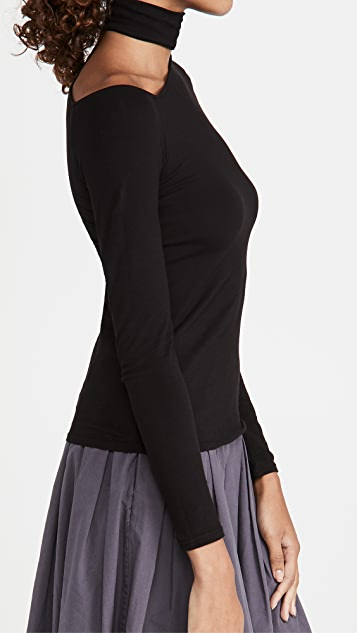 Enza Costa Detached Mock Neck Angled Top