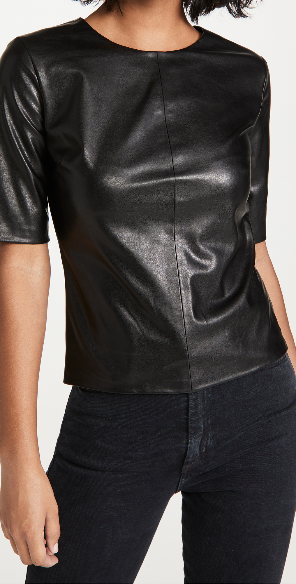 Enza Costa Womens Vegan Leather Crew Top