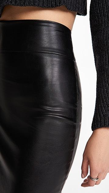 Enza Costa Vegan Leather Pencil Midi Skirt