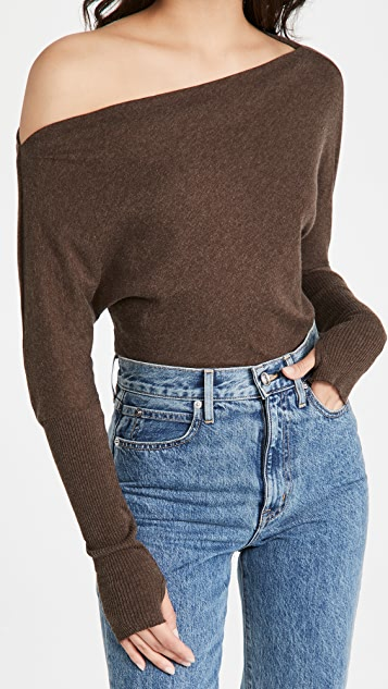 Enza Costa Cashmere Cuffed Off Shoulder Sweater