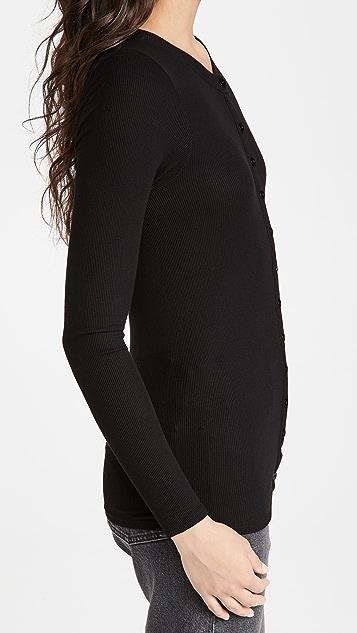 Enza Costa 真丝罗纹合身系扣衫