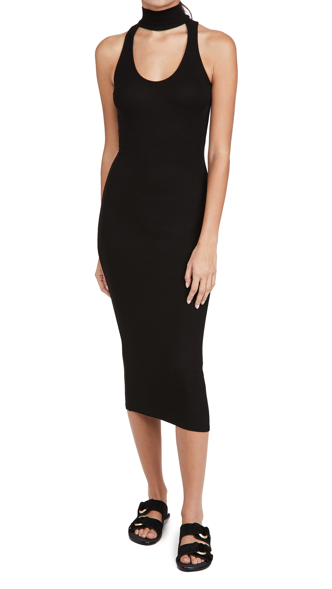 Enza Costa Mock Neck Sleeveless Midi Dress