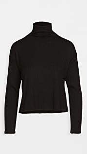 Enza Costa Rib Cropped Turtleneck