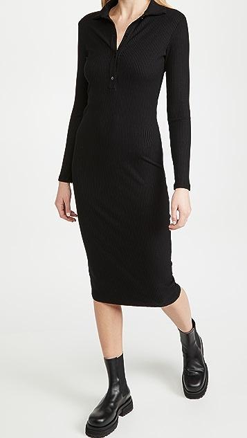 Enza Costa 粘纤罗纹及膝马球衫连衣裙