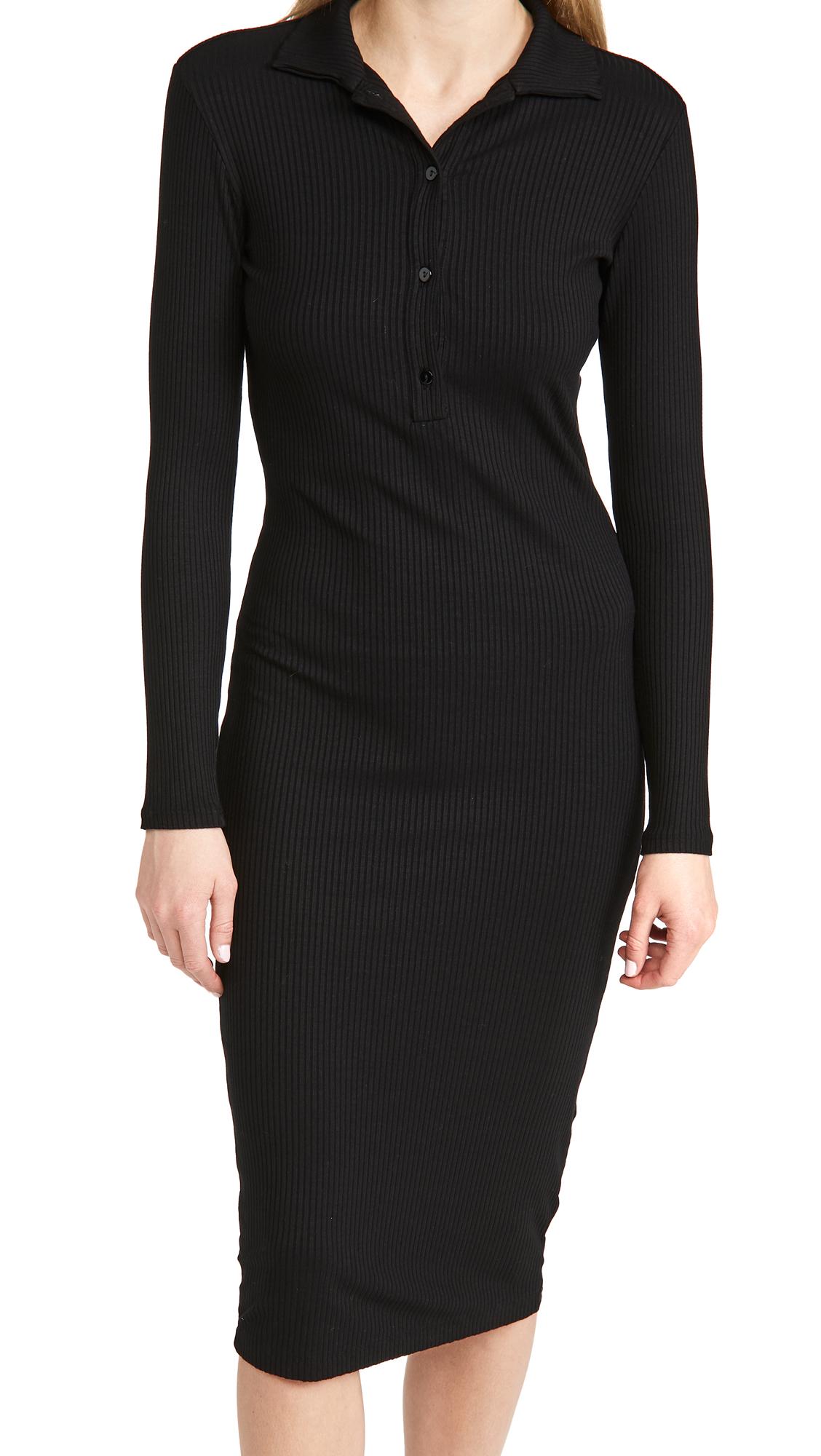 Enza Costa Viscose Rib Knee Length Polo Dress