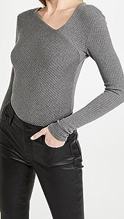 Enza Costa 莱赛尔纤维开司米羊绒罗纹不对称上衣