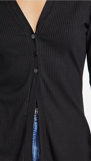 Enza Costa 罗纹系扣羊毛衫