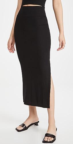 Enza Costa - Silk Rib Slit Pencil Skirt