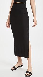 Enza Costa Silk Rib Slit Pencil Skirt