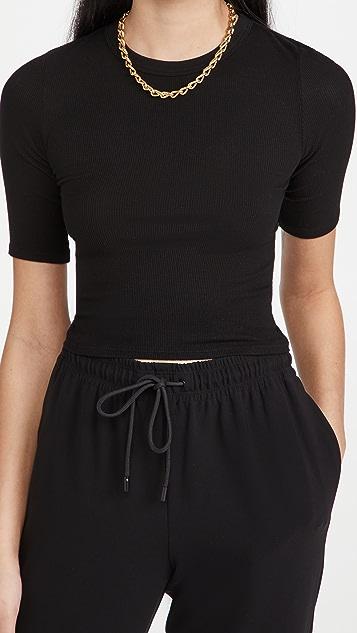 Enza Costa 真丝罗纹短款中袖圆领 T 恤