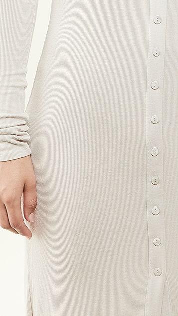Enza Costa 真丝罗纹系扣衫式连衣裙