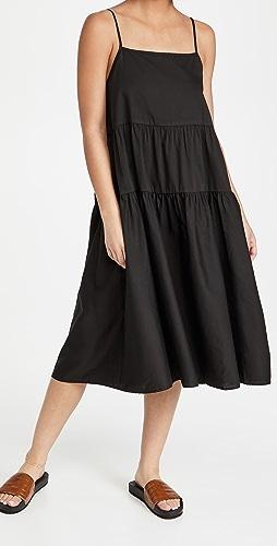 Enza Costa - 棉质绑带层褶连衣裙