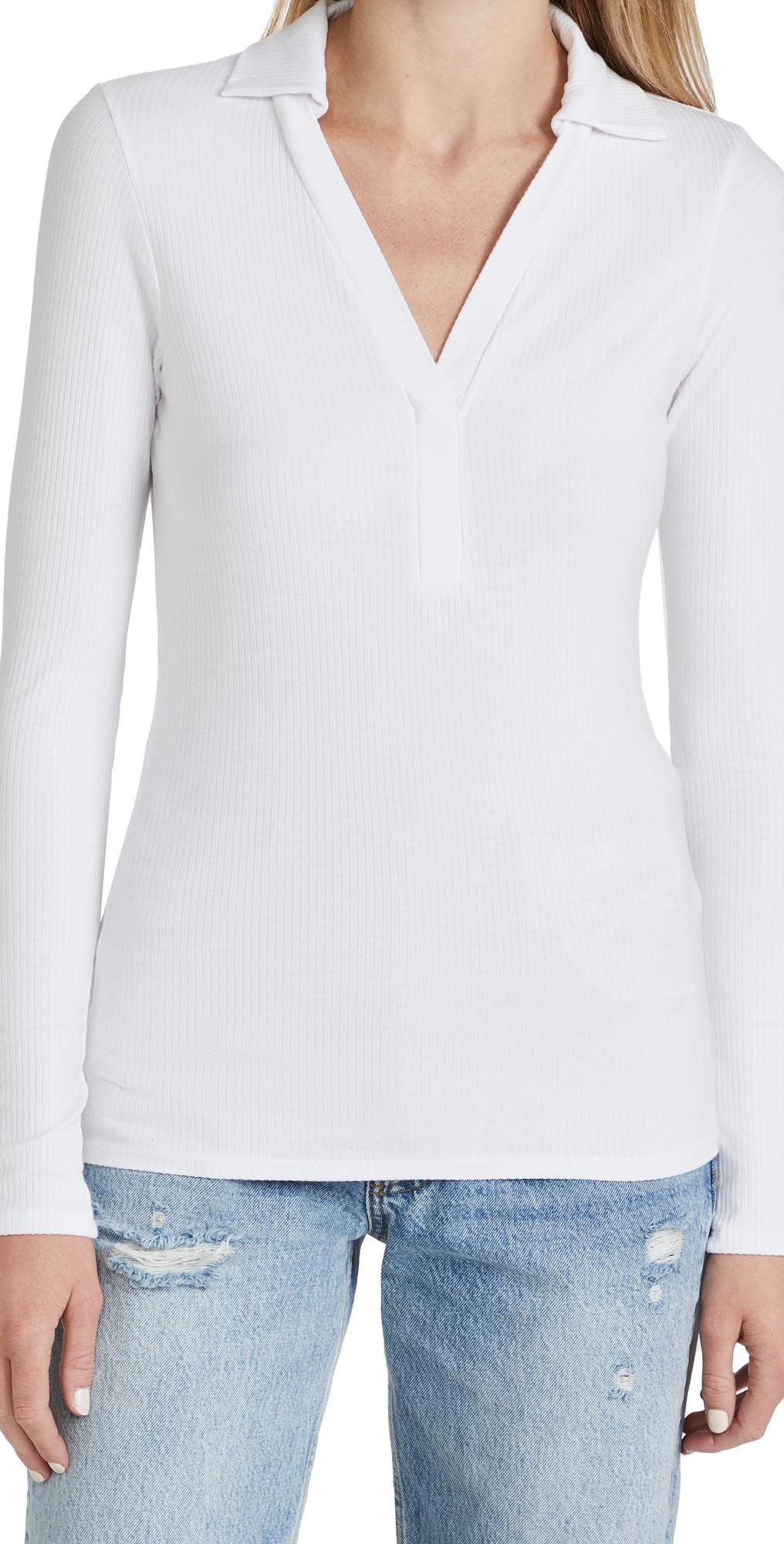 5X2 Silk Rib Long Sleeve Polo Shirt