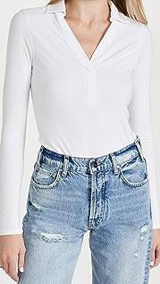 Enza Costa 5X2 Silk Rib Long Sleeve Polo Shirt
