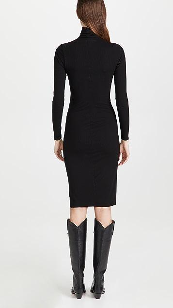 Enza Costa Silk Rib Turtleneck Midi Dress
