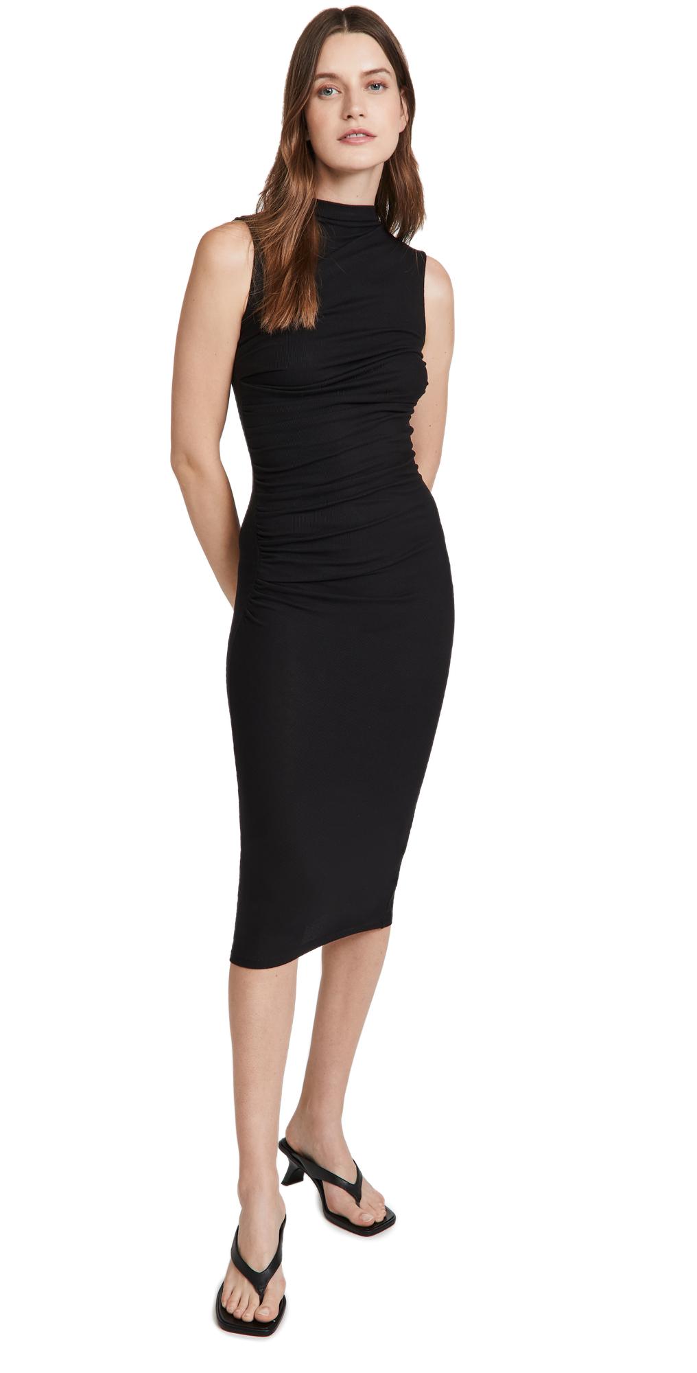 Silk Rib Sleeveless Twist Midi Dress