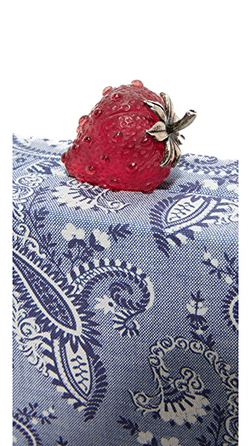 Edie Parker Jean Strawberry Paisley Clutch