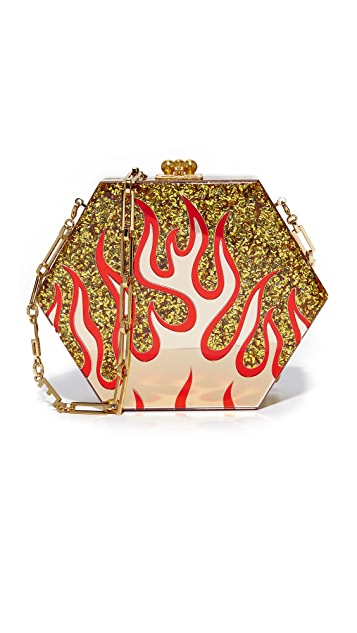 Edie Parker Macy Flames Clutch