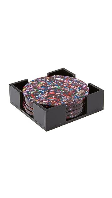Edie Parker Round Coaster Set - Rainbow