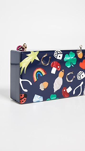 Edie Parker Lucky Charms Jean Clutch