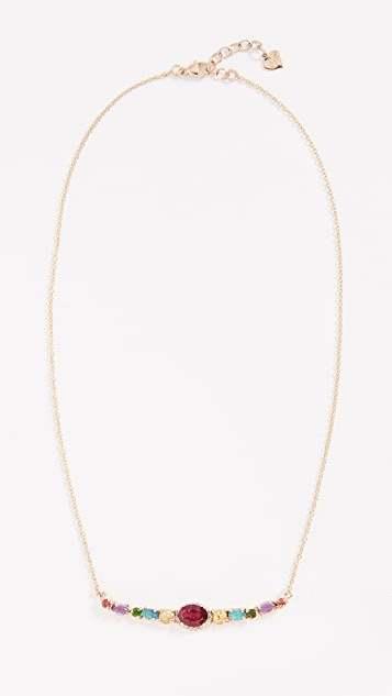 Eden Presley 14K Semi Curved Bar Necklace - Rubellite/Yellow Sapphire/Opal