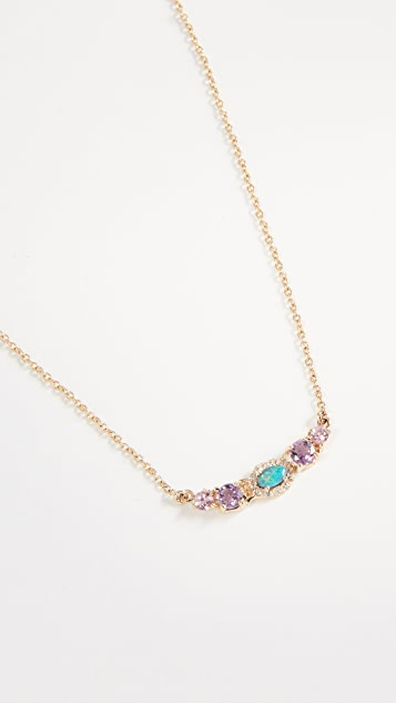 Eden Presley 14k Gold Mini Oval Stoned Bar Necklace