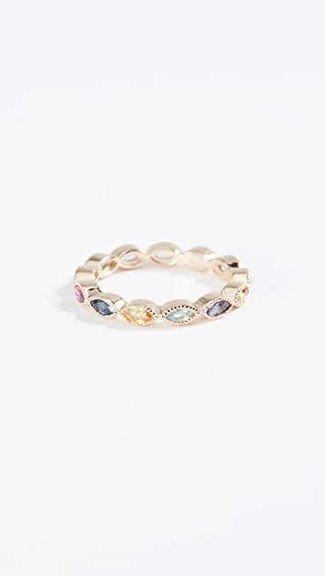 Eden Presley 14k Gold Marquise Eternity Candy Band Color Stones Ring - Gold/Multi