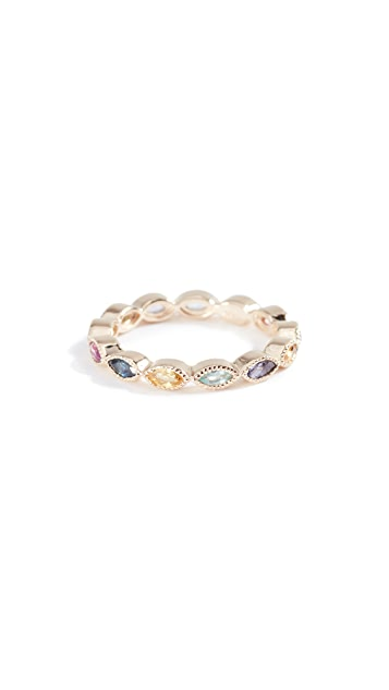 Eden Presley 14k Gold Marquise Eternity Candy Band Color Stones Ring