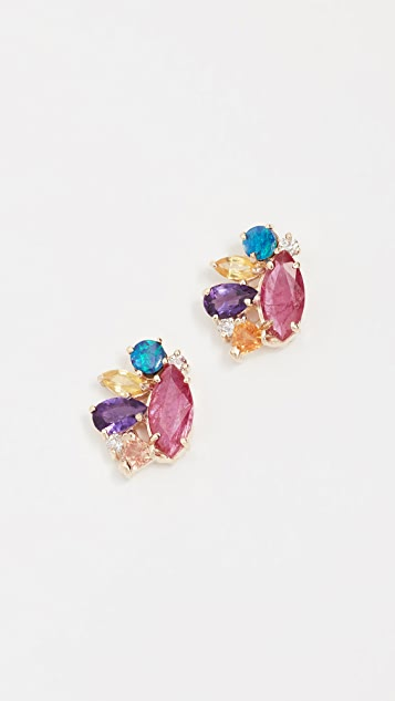 Eden Presley 14k Gold Ruby Cloud Stud Earrings