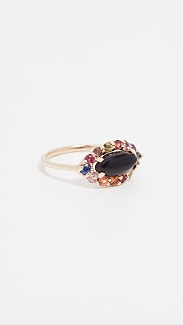 Eden Presley 14k Gold Onyx & Rainbow Ring