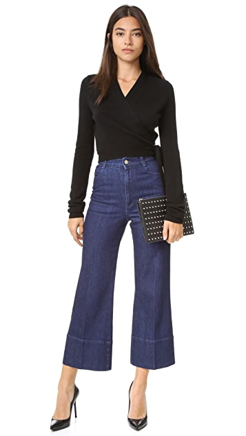 Equipment Shaylin Cropped Wrap Sweater