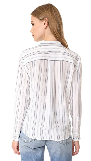 Equipment Daddy Tie Front Blouse
